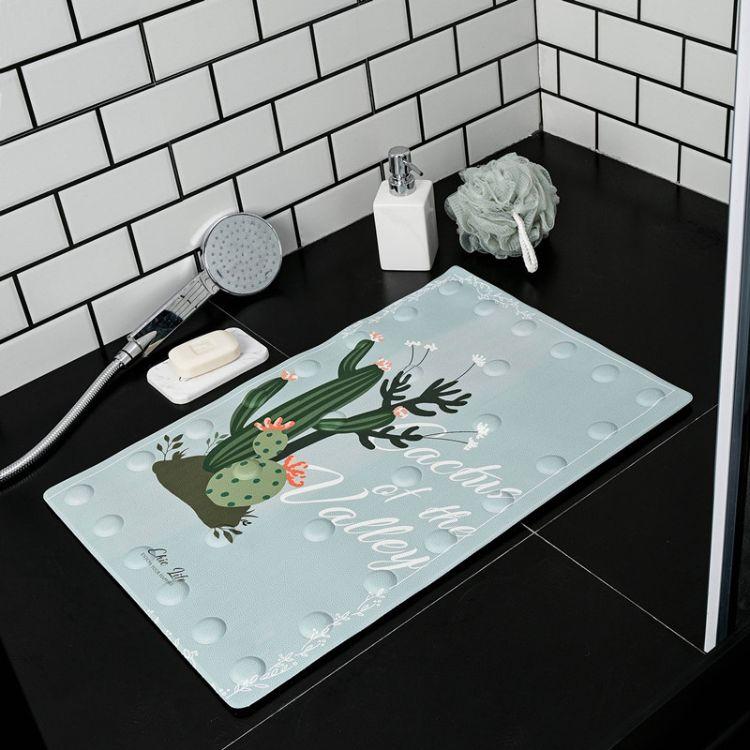 浴室防滑垫 洗澡淋浴脚垫带吸盘 厕所卫生间门垫隔水地垫子