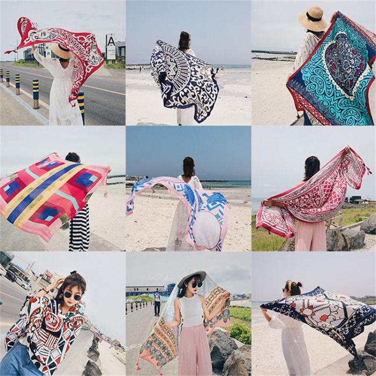 2018新品巴厘岛海边旅游度假防晒披纱裹裙沙滩裙巾围纱比基尼披肩