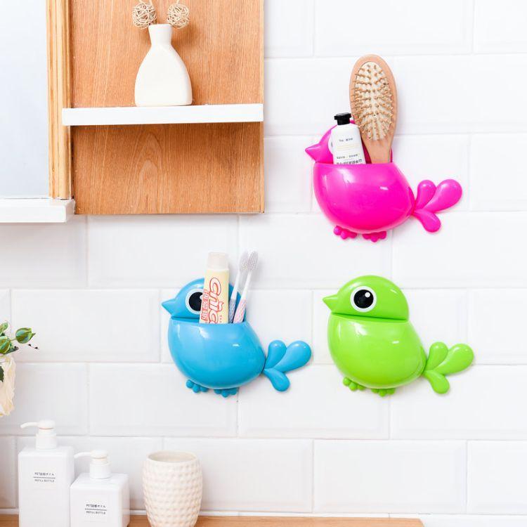 批发可爱创意小鸟强力吸盘牙刷架洗漱收纳盒 小鸟牙刷盒牙刷座纸