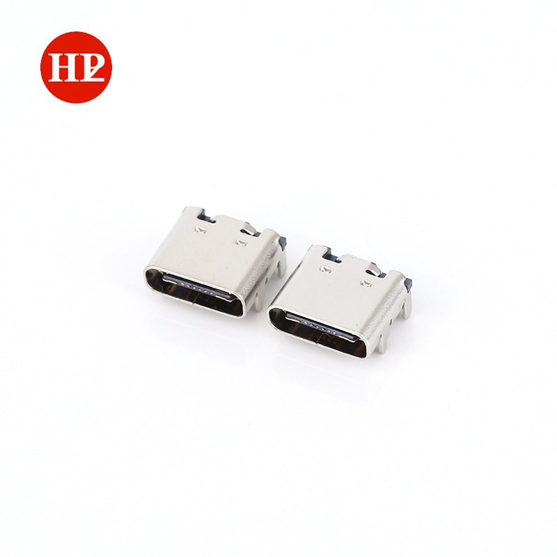 TYPE-C母座贴片 不锈钢电子元器件外壳四插脚 充电连接器