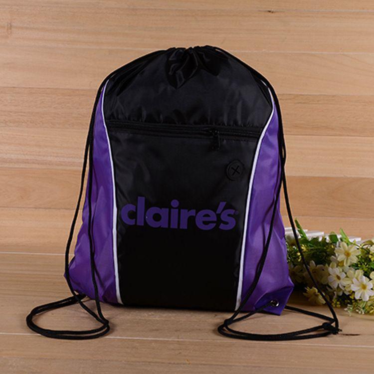 厂家直销新款涤纶束口袋 抽绳袋 尼龙束口环保袋 双肩运动背袋