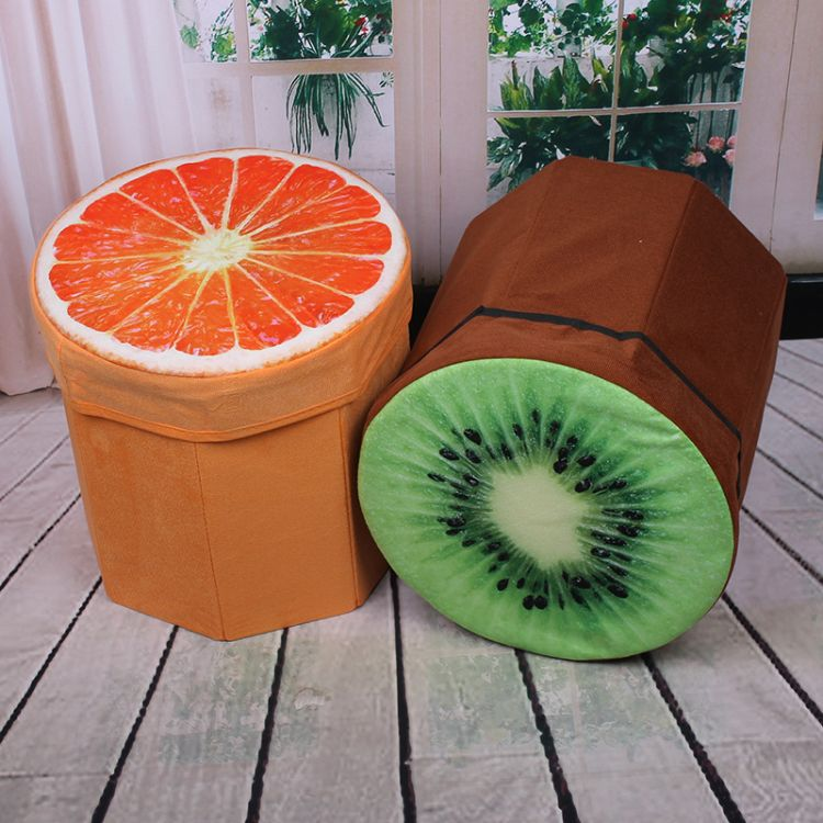 厂家直销植绒布清新水果收纳凳可坐折叠杂物整理储物收纳箱西瓜凳