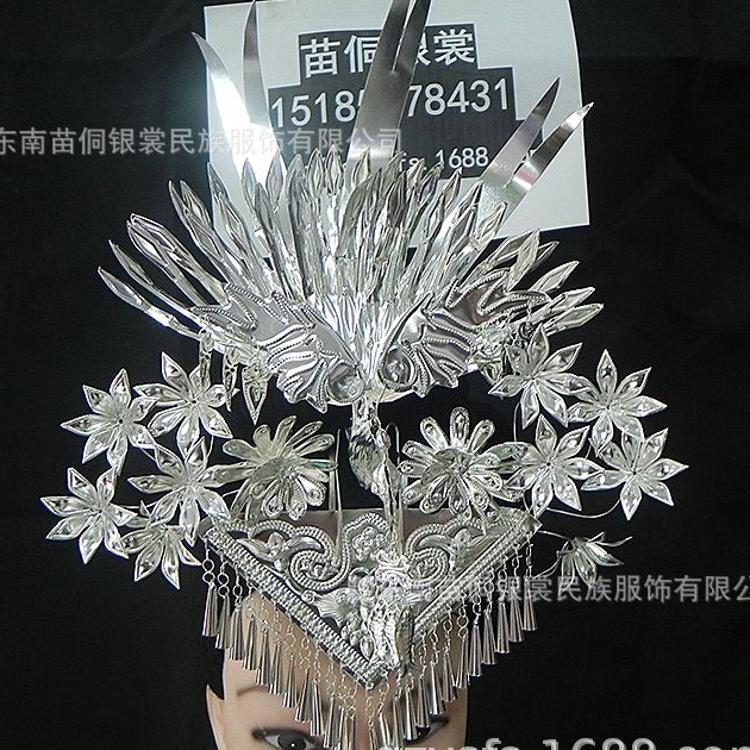 厂家销售 新款苗族头饰三角头钗 手工制作三角银花头钗 量大从优