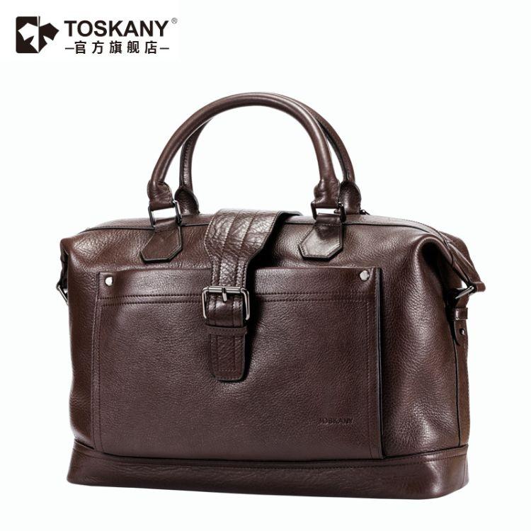 TOSKANY托斯卡尼 商务休闲大容量头层牛皮出差旅行公文包手提包