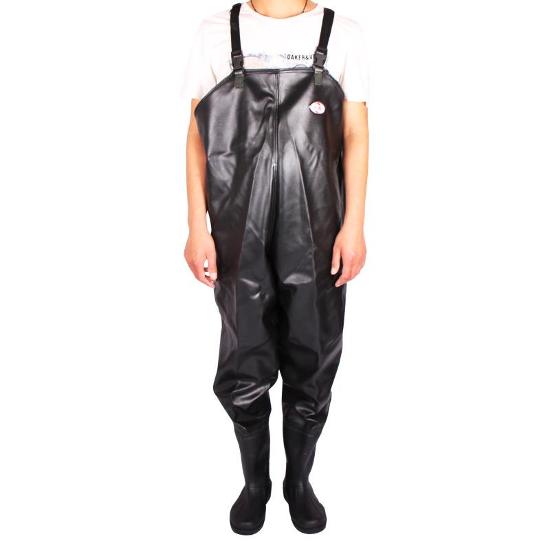 人群多功能下水裤半身下水裤黑色水衩裤涉水裤连体雨鞋雨裤加厚