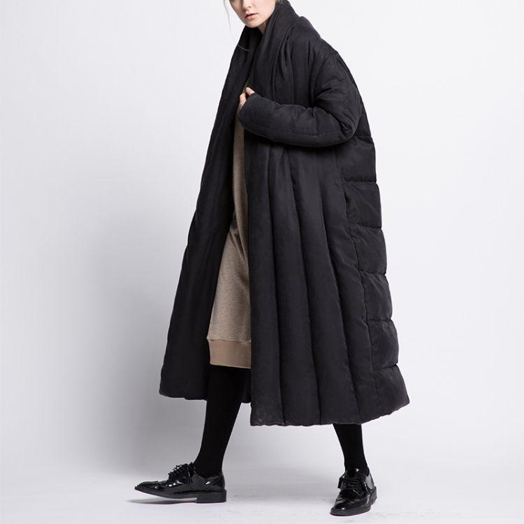 跨境2018长款大棉被宽松加厚羽绒服斗篷型外套女大码保暖一件代发