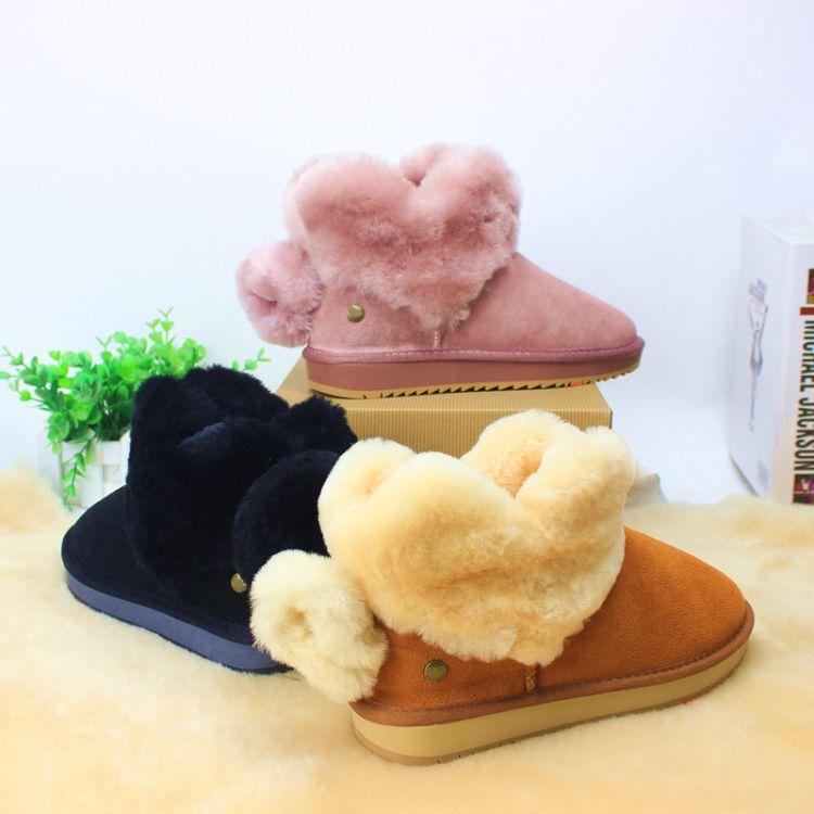 2018新款陈赫戚薇同款雪地靴女爱心联名款真皮冬季保暖平底短筒靴