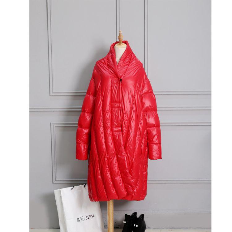 批发2017 时尚宽松冬季女式90白鸭绒欧美范超宽松长款斗篷型羽绒
