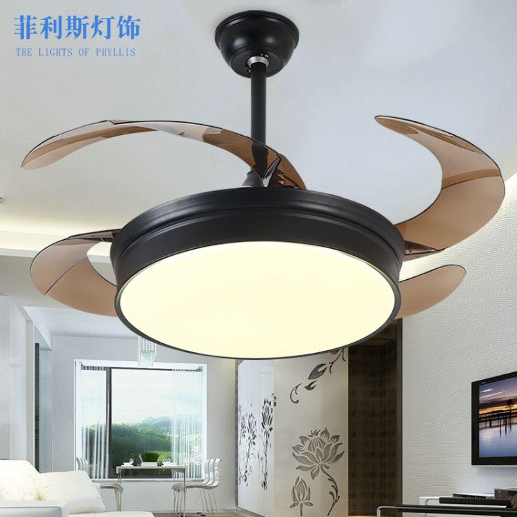 现货+定制现代简约LED卧室客厅餐厅隐形风扇吊灯黑色创意铁艺遥控