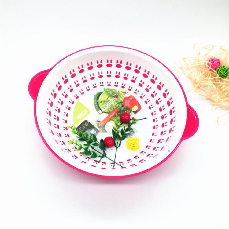 直销大号圆形双层滴水篮多功能沥水盆沥水篮果蔬滤水篮滴水果盘