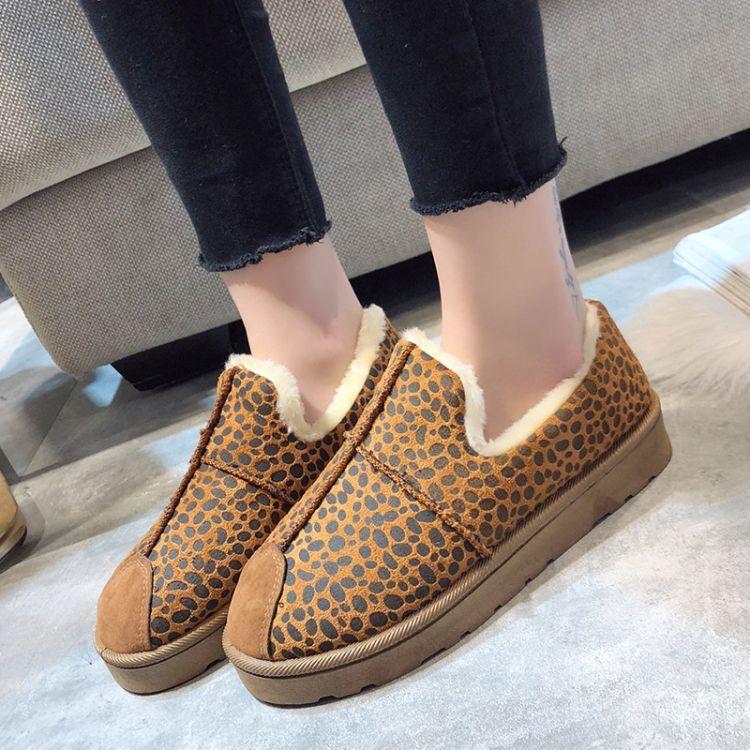 棉鞋女2018冬季新款韩版圆头平底女靴加绒保暖学生豹纹雪地靴外贸