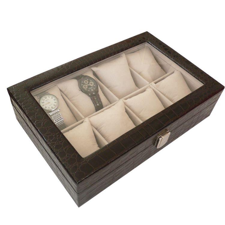 手表盒现货批发 8位手表箱黑色鳄鱼纹PU首饰展示盒包装盒一件代发