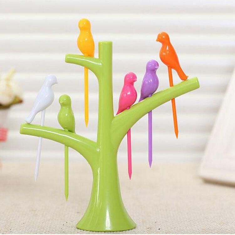 厨房用品创意树梢支架小鸟水果叉套装餐具易放置彩色水果签批发