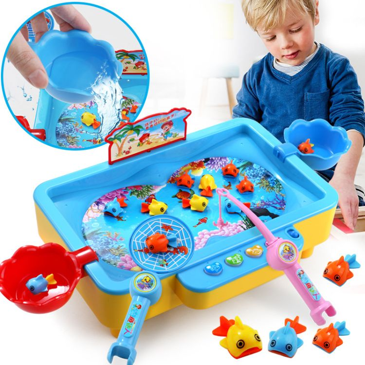 儿童钓鱼玩具套装 多功能音乐可加水钓鱼盘 亲子互动戏水玩具