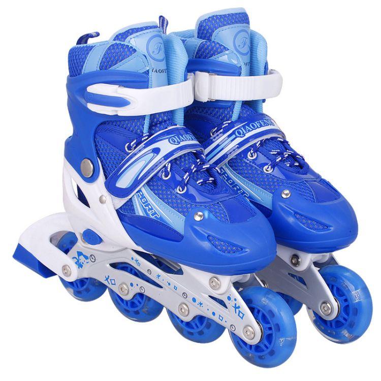厂家批发正品旱冰鞋成人全闪光直排轮滑鞋男女供应滑轮儿童溜冰鞋