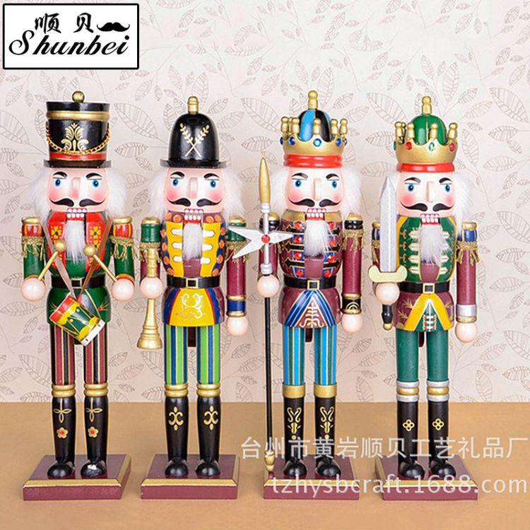 厂家直销现货供应38cm 精美手工彩绘胡桃夹子木偶客厅新奇摆件