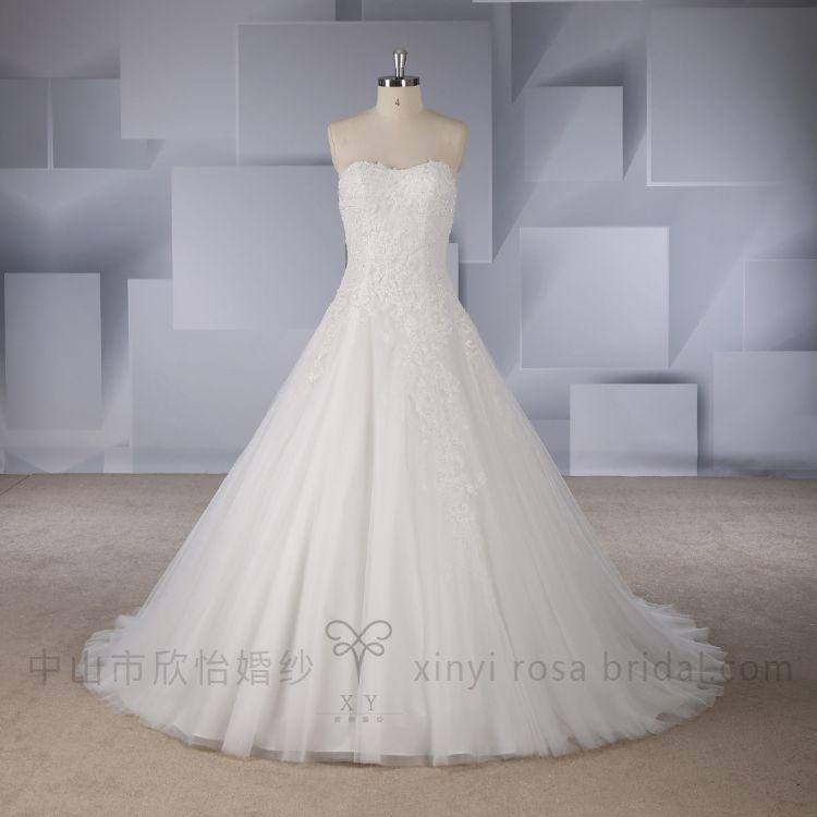 新款2017米色蕾丝钉珠抹胸优雅婚纱礼服
