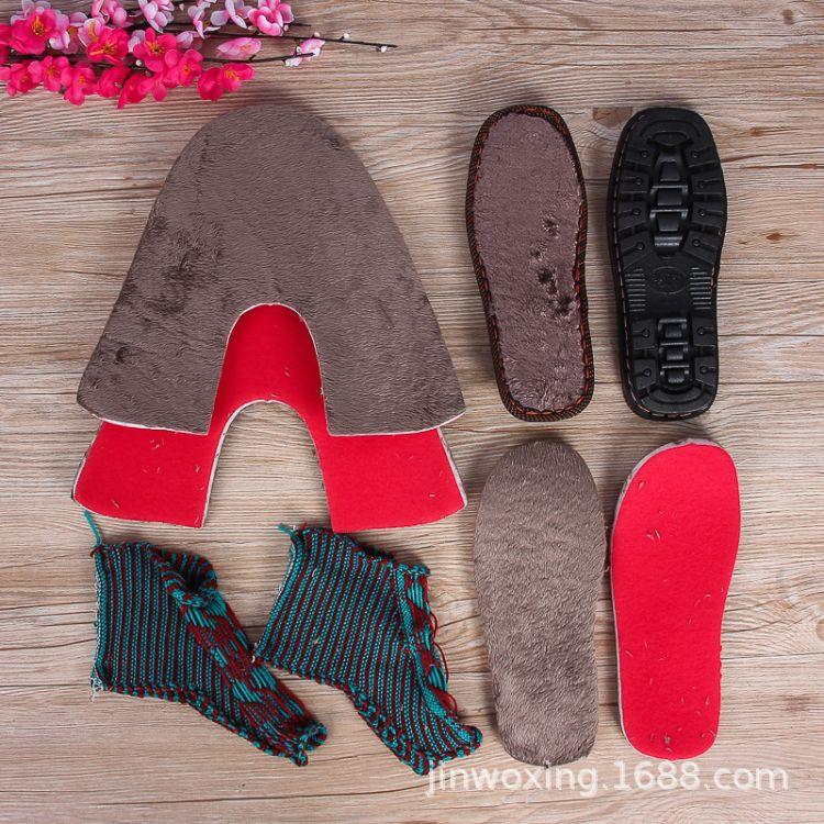 厂家批发冬季纯手工编织毛线鞋面中帮毛线面合缝保暖棉鞋海绵内衬