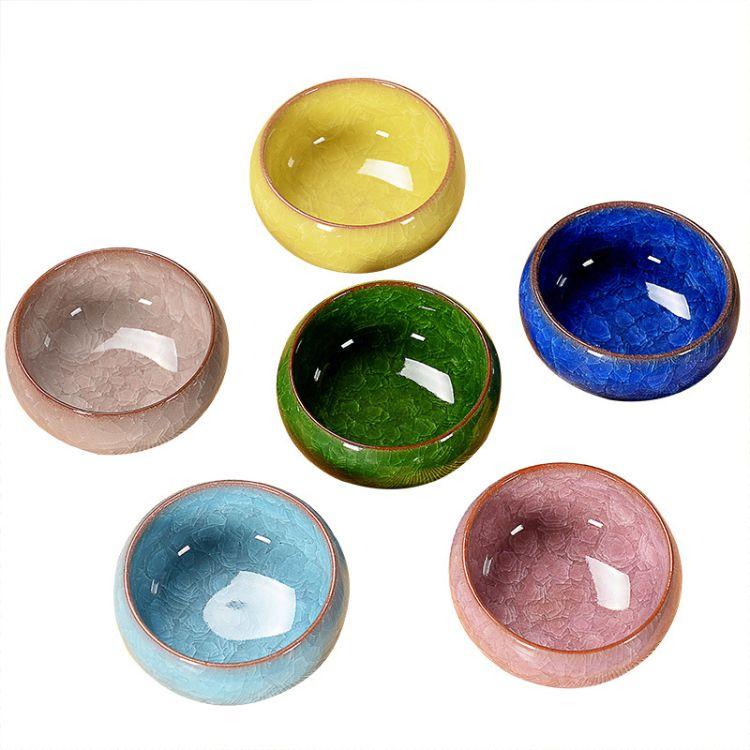 德化厂家直供冰裂釉陶瓷茶具功夫茶具套装七彩罗汉杯茶杯