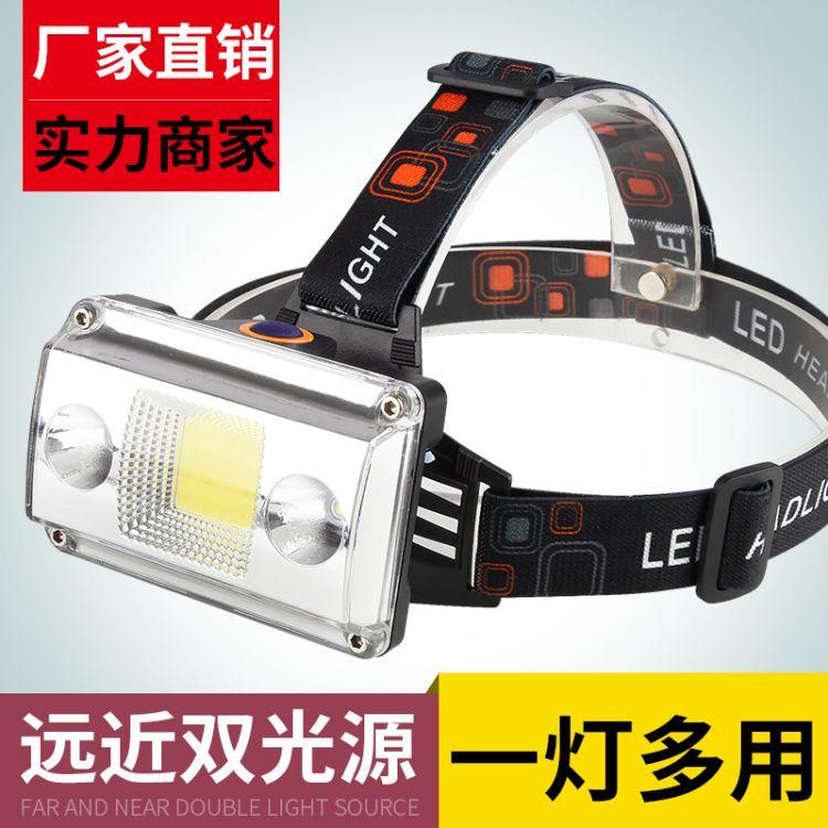 LED头灯强光打猎矿灯黄光夜钓鱼灯探照灯充电式远射手电筒t6批发