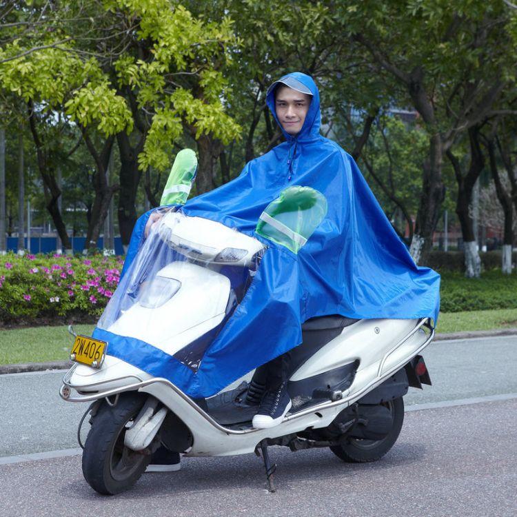 防水牛津布电瓶车雨衣 透明反光帽檐摩托车连体雨衣批发