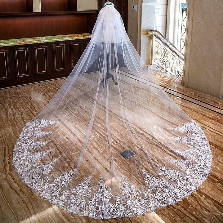 新娘大树形蕾丝头纱欧美3.5米超长拖尾头纱蕾丝婚纱头饰软纱