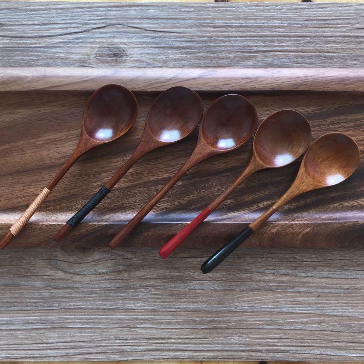 淘宝爆款  圆头细柄木勺 尾红黑创意餐具日式咖啡木勺子