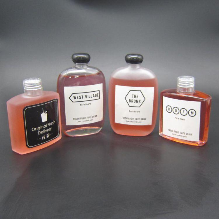 200ml冷萃冰滴咖啡瓶透明磨砂玻璃空瓶250ml扁方小酒瓶果汁饮料瓶