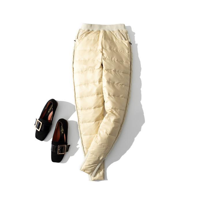 新款休闲女式羽绒裤铅笔修身小脚裤加大外穿拉链款羽绒裤潮