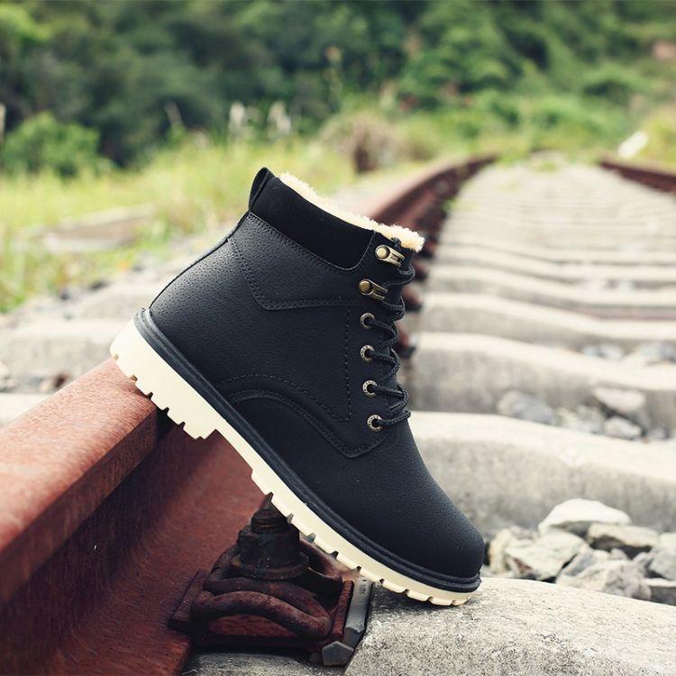 18冬季新款大头皮鞋英伦男鞋工装鞋商务休闲鞋复古厚底中帮加绒鞋