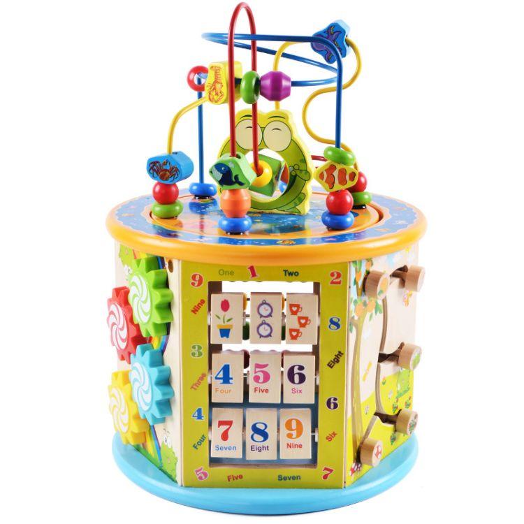 幼得乐儿童木制大号多功能益智大绕珠百宝箱早教智力开发亲子玩具