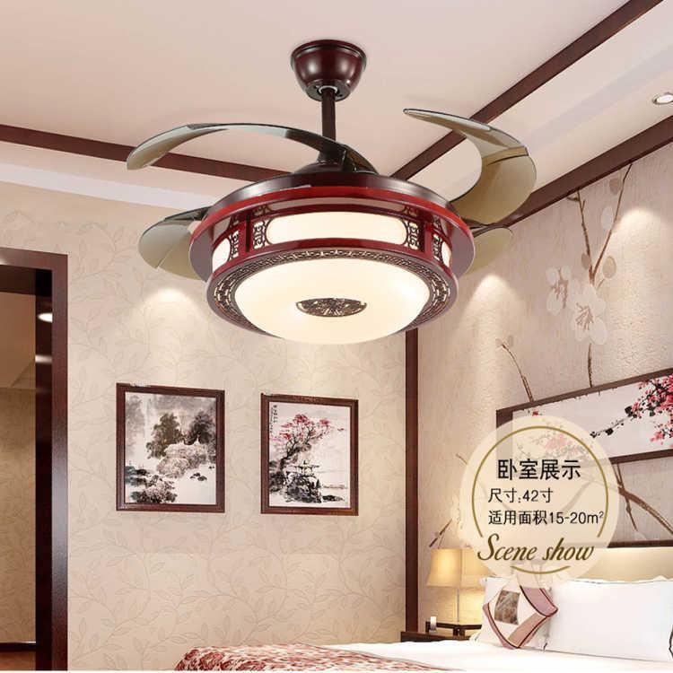 复古家用电扇灯风扇吊灯新款中式隐形吊扇灯房间客间风扇灯