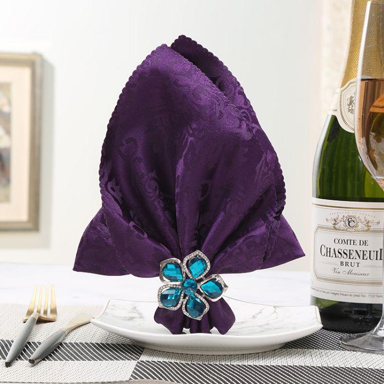 创意新款蓝色小花餐巾扣酒店摆台西餐厅礼品餐饮套装餐巾环