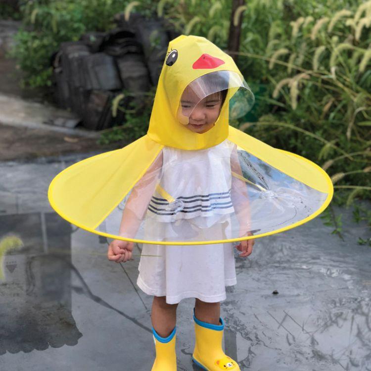 厂家直销儿童斗篷雨衣帽粉色小猪佩琪头戴式雨披防水PEVA雨伞帽