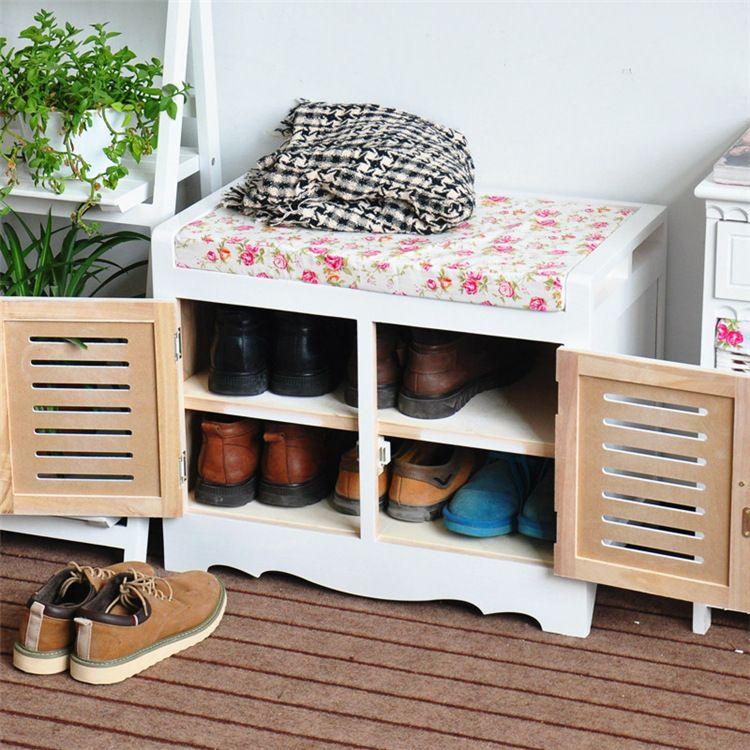 多功能简易换鞋凳柜一体 双人白色藤编穿鞋凳 木制田园风格换鞋凳
