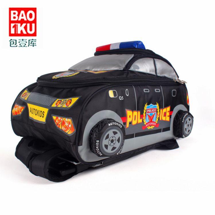 厂家直销批发3D车型男童书包双肩包警车小学生拉杆书包一件代发