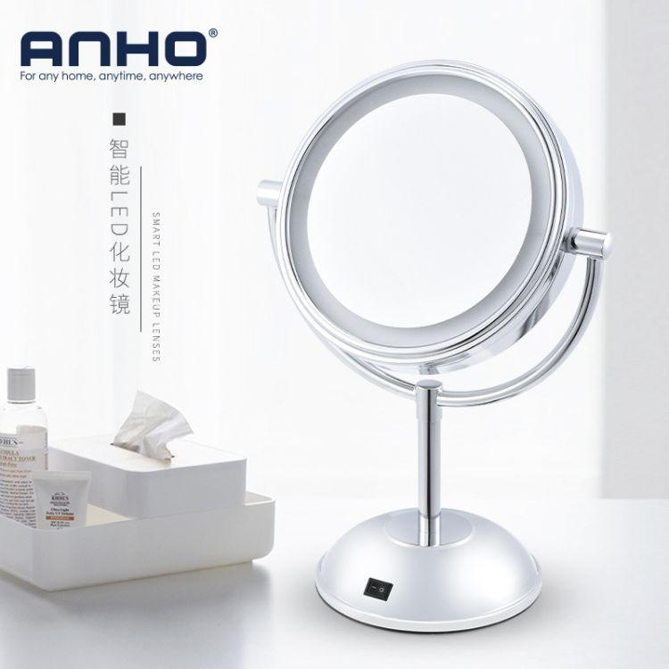 跨境 LED化妆镜台式带灯随身镜子 高清双面公主美容镜