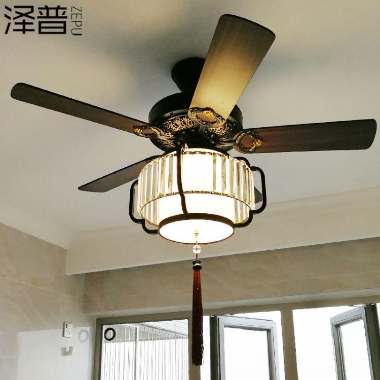 新中式吊扇灯中国风仿古带电风扇吊灯复古客厅餐厅卧室风扇灯静音