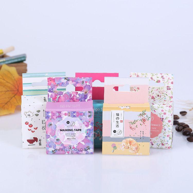 精美盒装印花彩色无痕和纸胶带 手撕烫金DIY创意贴纸和纸胶带