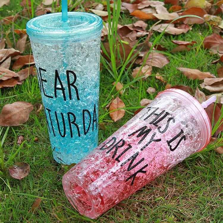 创意冰裂吸管杯 塑料杯夏日冰杯夏季冰杯果汁随手杯广告促销