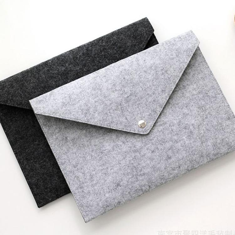办公用品创意文件套大容量手拿按扣毛毡文件袋 a4资料袋夹