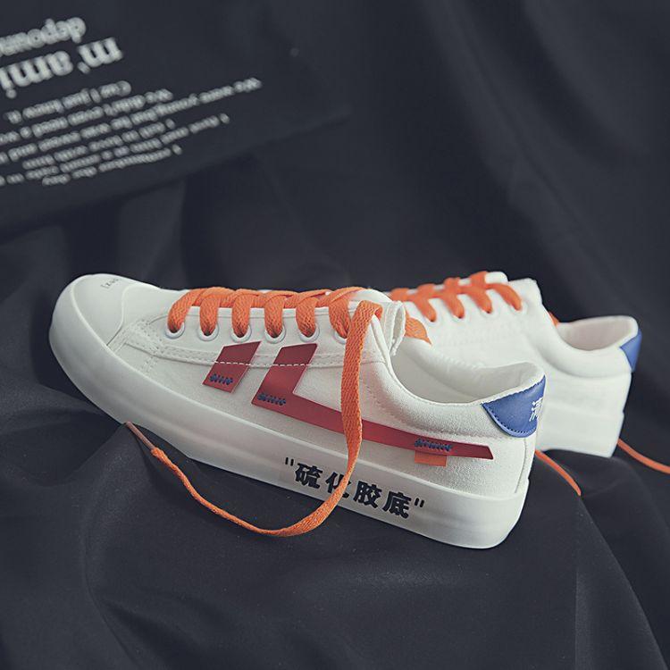 定制尚泰2018夏季日系原宿风女帆布鞋拼色硫化胶底学生鞋一件代发