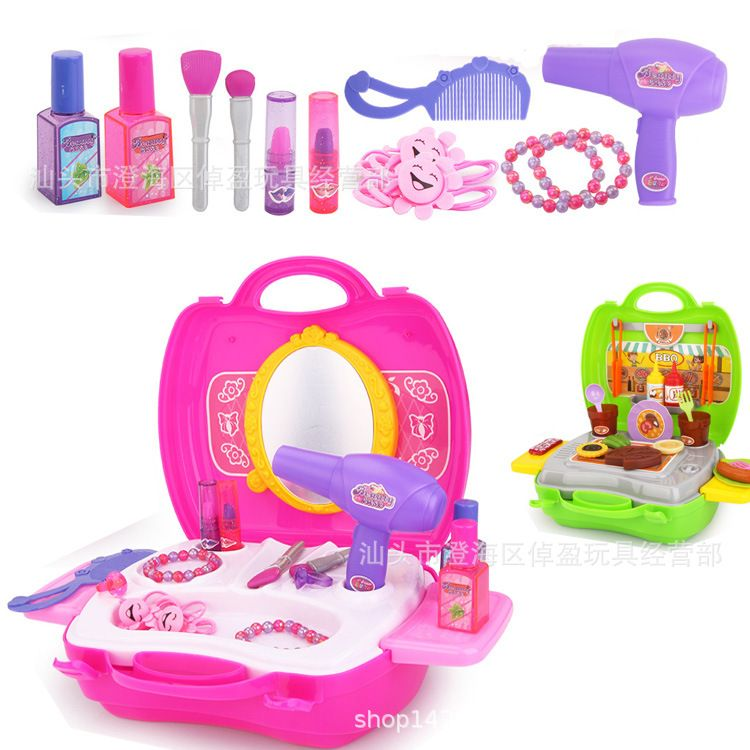 新款过家家玩具手提式化妆台仿真收银台迷你餐具箱披萨玩具套装