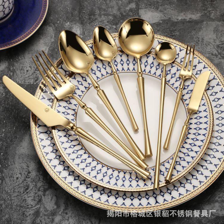 小蛮腰餐具甜品叉不锈钢西餐刀叉 陶瓷碟子盘子配套软装西餐家居