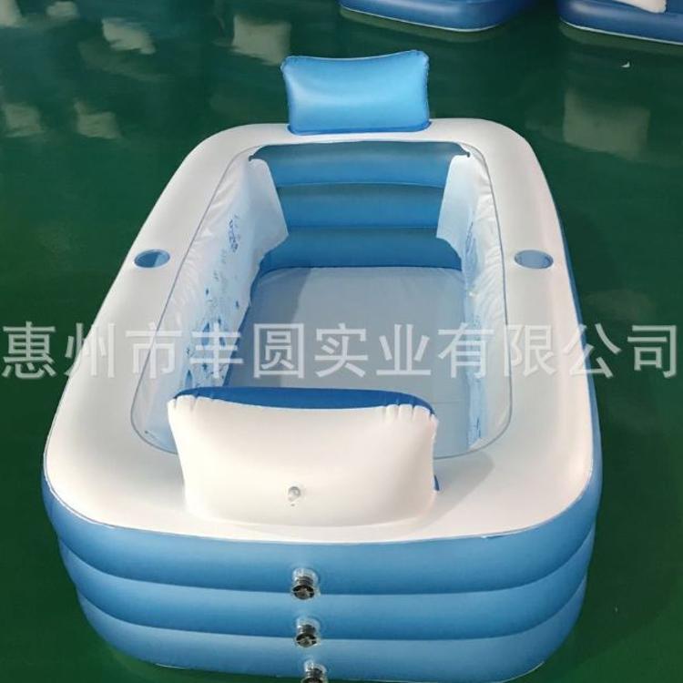 定制新款充气家庭水池 加厚泡底浴缸带靠背休闲读书游泳池