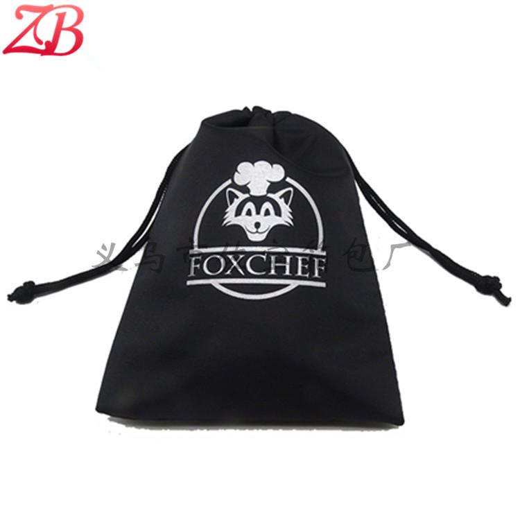 定做加工210D涤纶布袋 白色丝印黑色束口包装袋