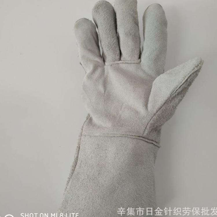 厂家直销电焊手套长款四季加绒内里牛皮焊工手套耐磨防滑防切割