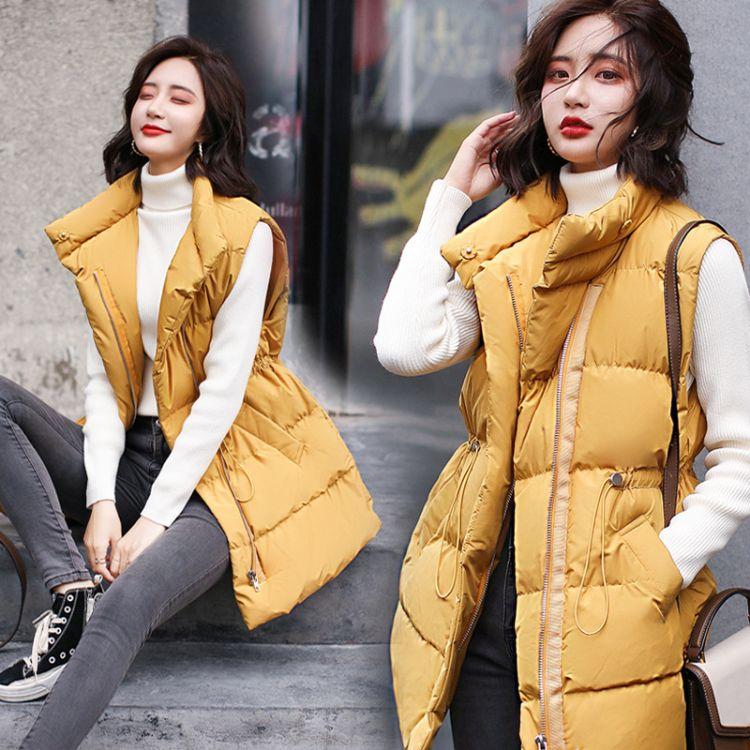 通勤马夹半高领拉链2018年冬季常规时尚百搭中长款潮流个性