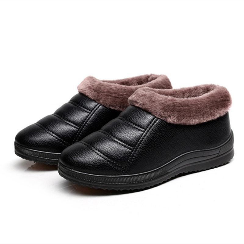 冬季奶奶棉鞋软底平底加绒加厚保暖防滑防水短靴中老年女鞋妈妈鞋