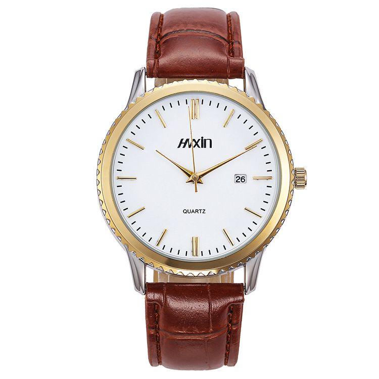 厂家直销休闲石英手表日历三针情侣款电子表真皮带男女款手表